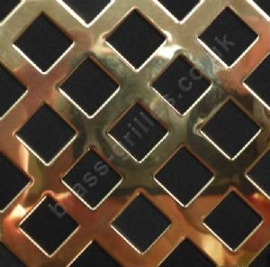 Polished Brass Grille 10mm Diamond Hole Perforated Sheet 1000mm x 660mm x 0.7mm